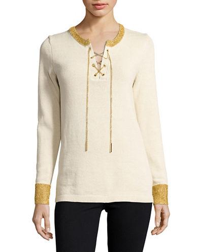 michael kors female laceup sweater