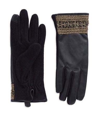 LAUREN RALPH LAUREN Metallic Lace and Leather Touch Gloves