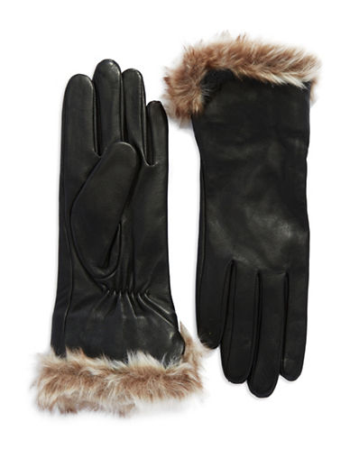 LAUREN RALPH LAURENLeather Gloves with Faux Fur Cuffs