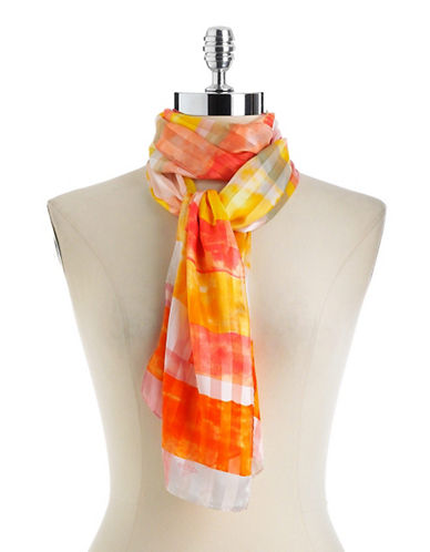 Geometric Box Print Silk Scarf