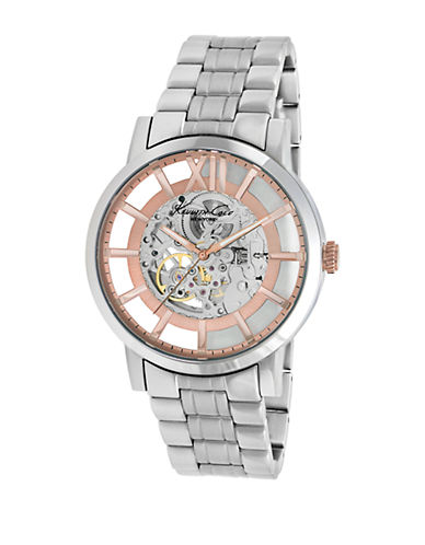KENNETH COLEMens Silvertone and Rose Goldtone Stainless Steel Watch