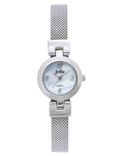 Ladies' Silvertone Watch with Mesh Bangle