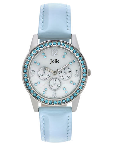 JOLIELadies Crystal and Leather Chronograph Watch