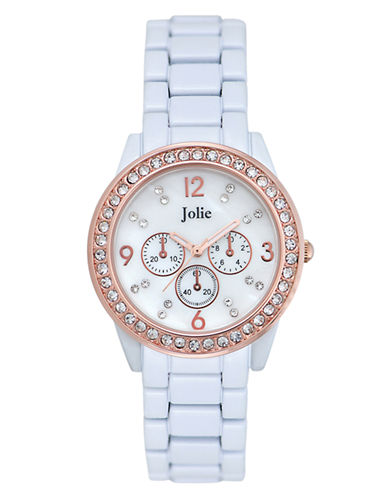 JOLIELadies Rose Gold Tone and Crystal Chronograph Watch