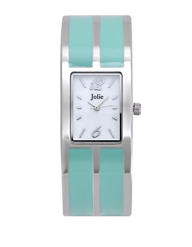 Ladies' Silver-Tone & Green Enamel Bangle Watch