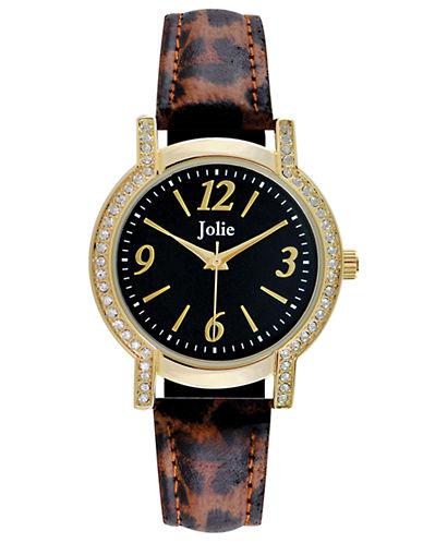 JOLIELadies Animal Print and Crystal Encrusted Watch