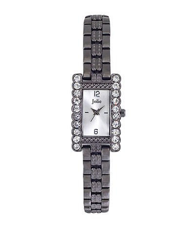 JOLIELadies Rectangular Crystal-Accented Watch