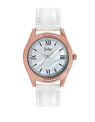 JOLIE Ladies' Rose Gold-Tone & Leatherette Strap Watch