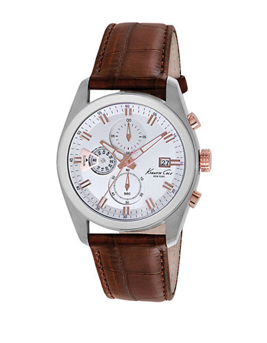 KENNETH COLEMens Stainless Steel Chronograph Watch with Leather Strap