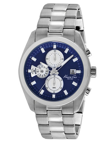 KENNETH COLE Mens Stainless Steel Chronograph Watch with Blue Dial