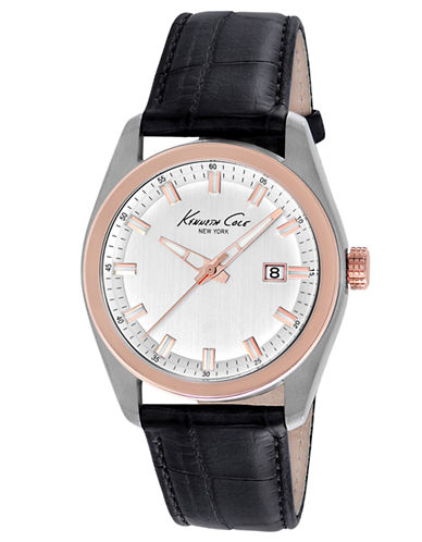 KENNETH COLE NEW YORK Rose Gold-Tone & Leather Strap Watch