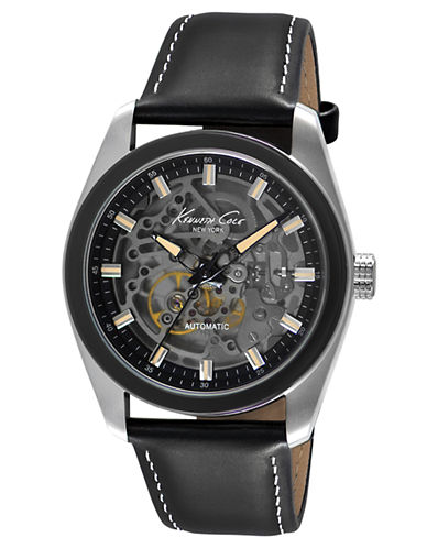 KENNETH COLE Mens Stainless Steel Watch with Smoky Skeleton Dial