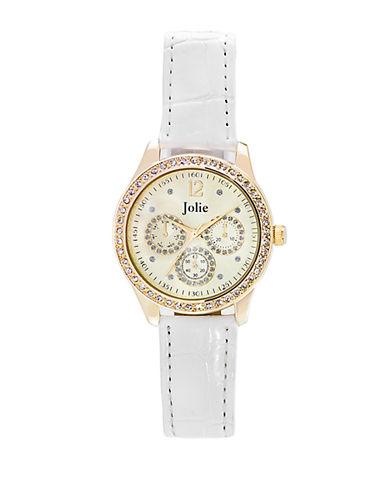 JOLIELadies Gold-Tone Chronograph Glitz Watch with Leather Strap