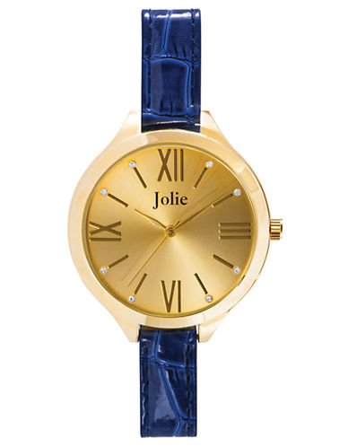 JOLIE Ladies Gold Tone Watch with Cobalt Leatherette Strap