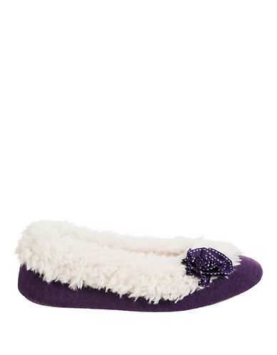 ISOTONERSignature Holiday Sherpa-Lined Knit Ballerina Slippers