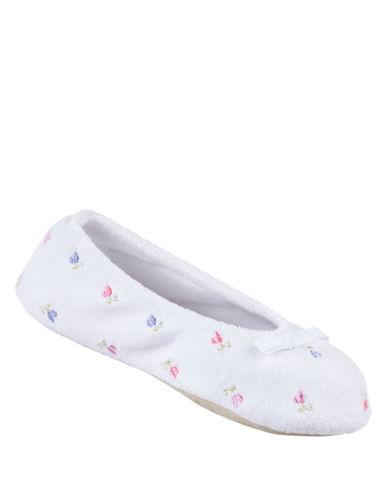 ISOTONERTerry Embroidered Ballerina Slippers