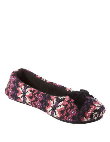 ISOTONER Signature Holiday Fair Isle Sweater Knit Ballerina Slippers