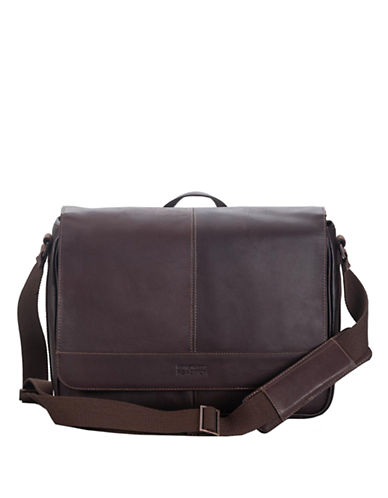 KENNETH COLE REACTION Brown Leather Messenger Bag