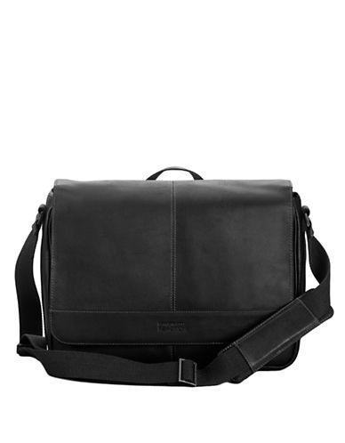 KENNETH COLE REACTIONBlack Leather Messenger Bag