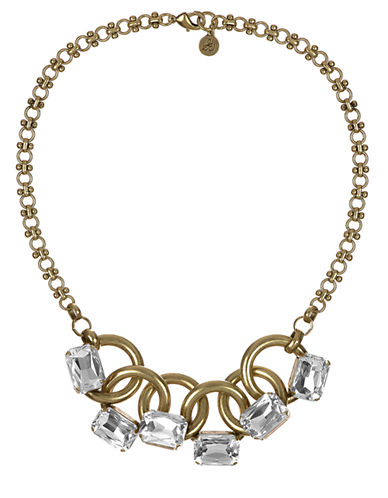 SAM EDELMAN Gold Tone and Crystal Stone Link Collar Necklace