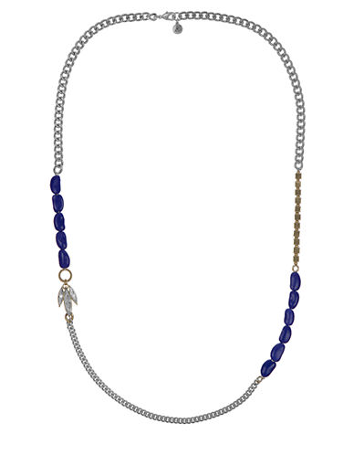 SAM EDELMAN Silver Tone and Indigo Beaded Station Necklace