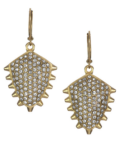 SAM EDELMAN Gold Tone and Crystal Pave Stud Drop Earrings