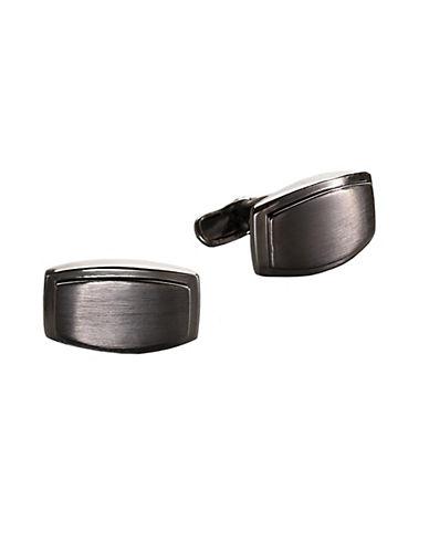 KENNETH COLE REACTIONSatin Black Nickel Rectangle Cufflinks