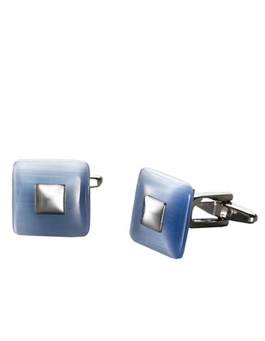 KENNETH COLE REACTIONNickel and Cat-Eye Domed Square Cufflinks