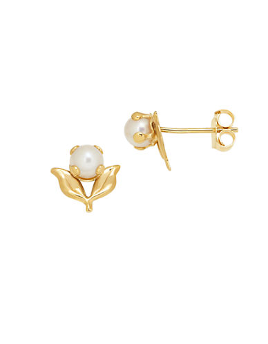 LORD & TAYLOR Akoya Pearl Stud Earrings in 14K Yellow Gold 3.5 mm
