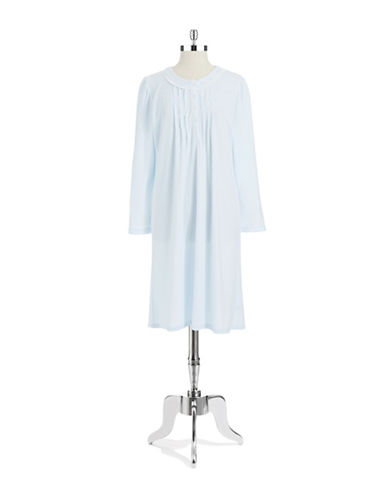 MISS ELAINE Petite Pleated and Embroidered Nightgown