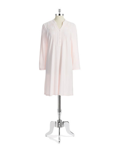 MISS ELAINE Pleated and Embroidered Nightgown