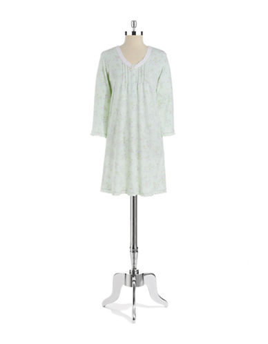 MISS ELAINE Floral and Lace Nightgown