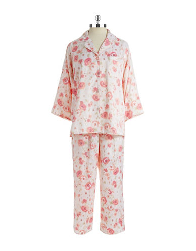 MISS ELAINE Watercolor Floral Two-Piece Pajama Set