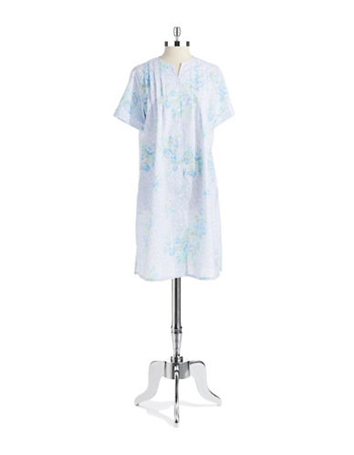 MISS ELAINE Button Front Floral Nightgown