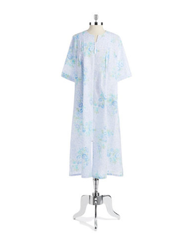 Miss Elaine Zip Front Floral Nightgown