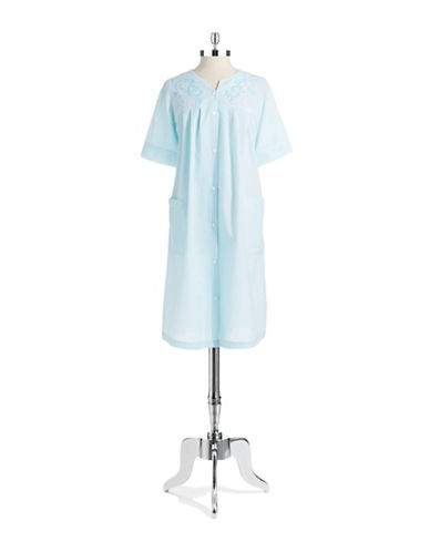 MISS ELAINEButton Front Striped Nightgown