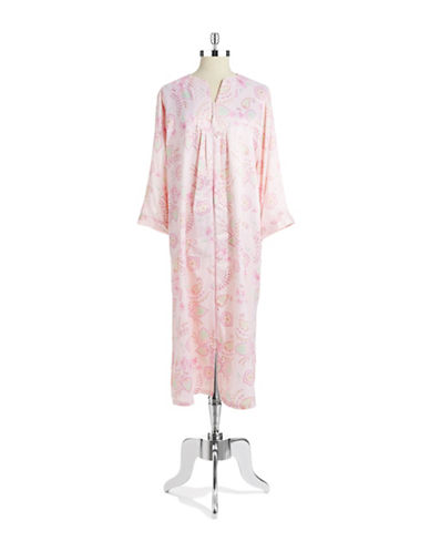 MISS ELAINE Paisley Floral Zip Front Nightgown