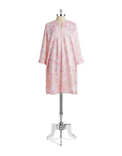 MISS ELAINE Floral Paisley Zip Nightgown