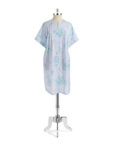 MISS ELAINE Floral Button Front Nightgown