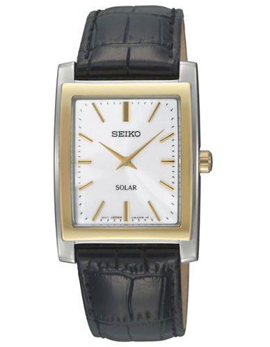 SEIKO Mens Stainless Steel and Leather Solar Watch