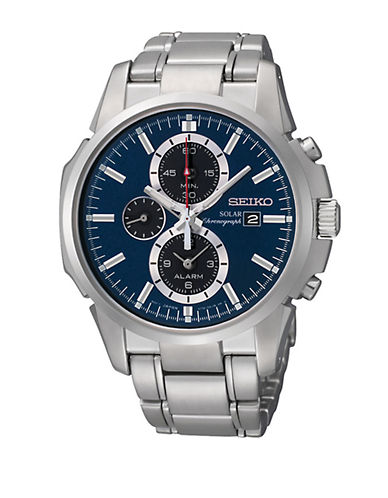SEIKO Mens Silver-Tone Solar Chronograph Watch