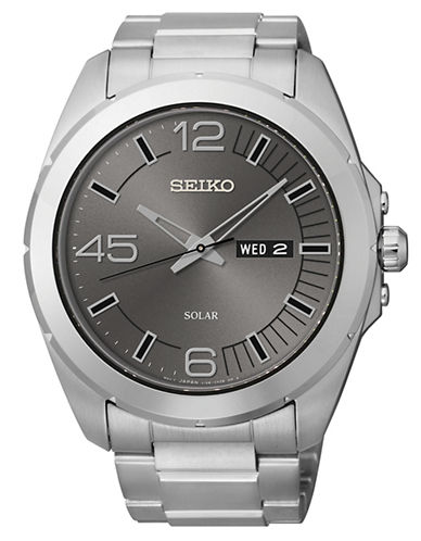 SEIKOMens Stainless Steel Watch with Gray Dial