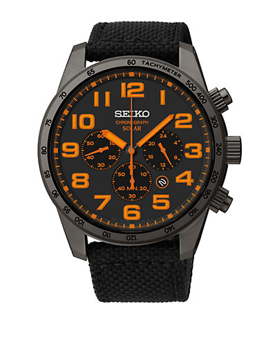 SEIKO Mens Black Stainless Steel Chronograph Watch