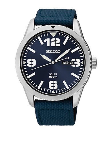 SEIKO Men's Stainless Steel Watch with Navy Blue Nylon Strap