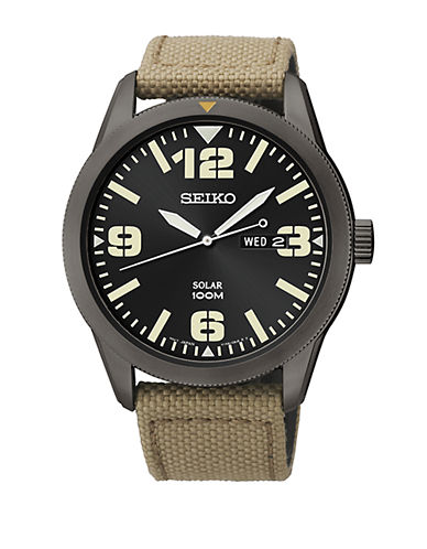 SEIKO Mens Black Stainless Steel Watch with Beige Nylon Strap