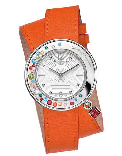 FERRAGAMOLadies Gancino Silver-Tone and Leather Watch