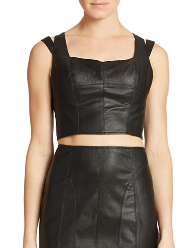 GUESSFaux Leather Crop Top