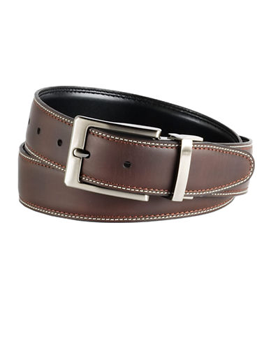 BLACK BROWN 1826 Reversible Stitched Leather Belt