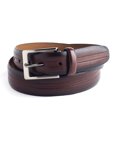 BLACK BROWN 1826 Stitched Leather Belt