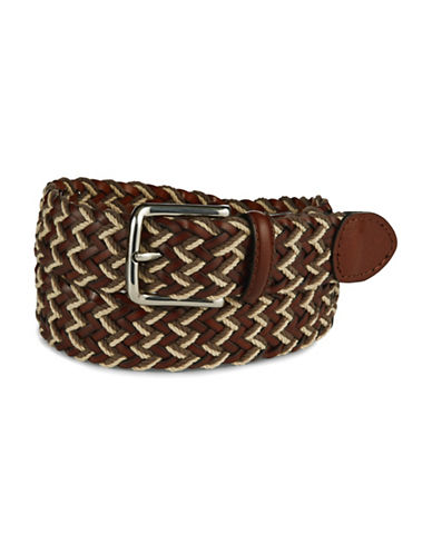 BLACK BROWN 1826 Leather Braided Belt